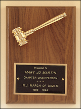 Gold Gavel on Walnut Plaque