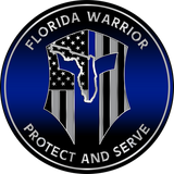 "5"" FLORIDA WARRIOR BLUELINE POLICE PLAQUE"