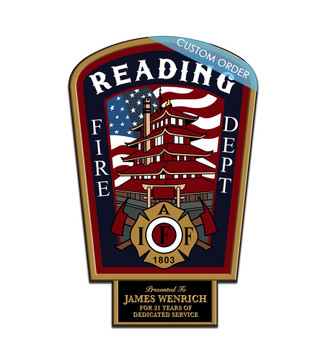 CUSTOM PLAQUE WITH BOTTOM TAB (Fire Rescue & EMS) - PERSONALIZED