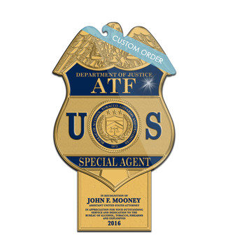 Plaque with a Personalized Tab at the bottom for Government, Federal, ATF Sample.