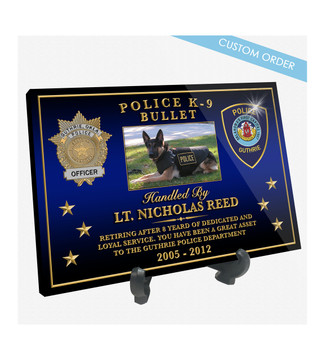 "Patch Plaques can make any Patch, Badge, Seal, Logo or Artwork into a beautiful Wood & Acrylic Desk Plaque.  Cut To Shape! These ""Stunning"" Plaques also come with an Easel stand... Free Shipping and Free Setup!"