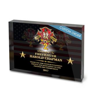 USA FLAG ACRYLIC BLOCK RECOGNITION AWARD