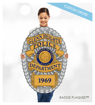 Police, Sheriff, Law Enforcement Badge Plaque, Wood and Acrylic Custom Wall Plaque Sign | Badge Plaques