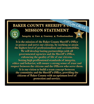 CUSTOM MISSION STATEMENT PLAQUE (Law Enforcement)