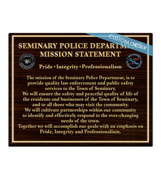 CUSTOM MISSION STATEMENT PLAQUE (Fire)