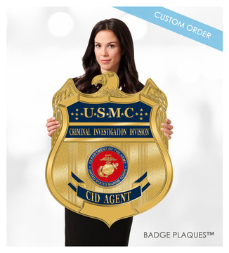 Military Badge Plaque, USMC, Department of Justice Wood and Acrylic Custom Wall Plaque Sign | Badge Plaques