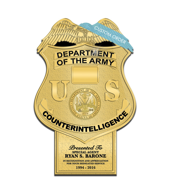 Badge Plaque with a Personalized Tab at the bottom for Military, Air Force, Army, Navy and Government.