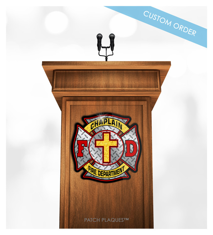 Custom Podium and Lectern Plaque for Fire Rescue, Emergency Services and Fire Departments.