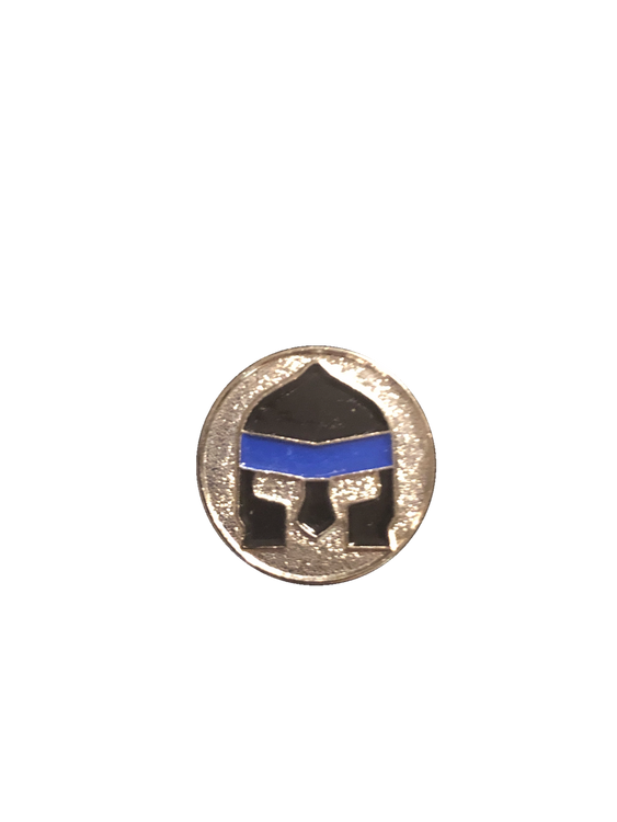 Awesome FULL COLOR Warrior Face with Thin Blue Line enamel logo
