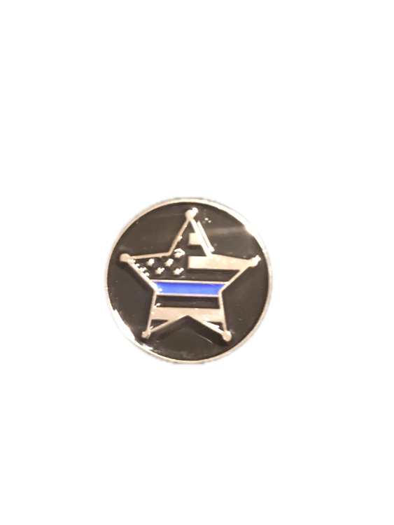 Awesome FULL COLOR 5 Point Star with Thin Blue Line enamel logo