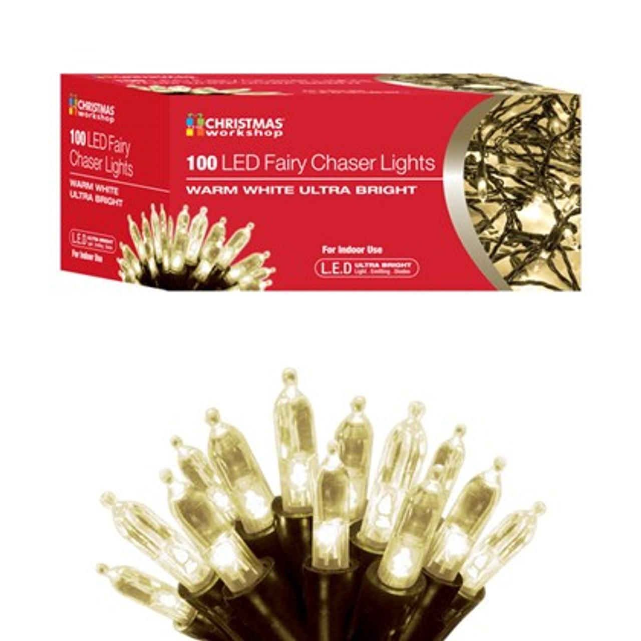 100 LED Fairy Chaser Lights - Warm White