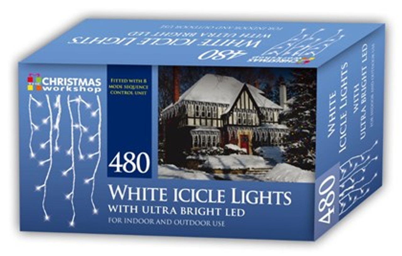 480 Bright White LED Snowing Icicle Lights