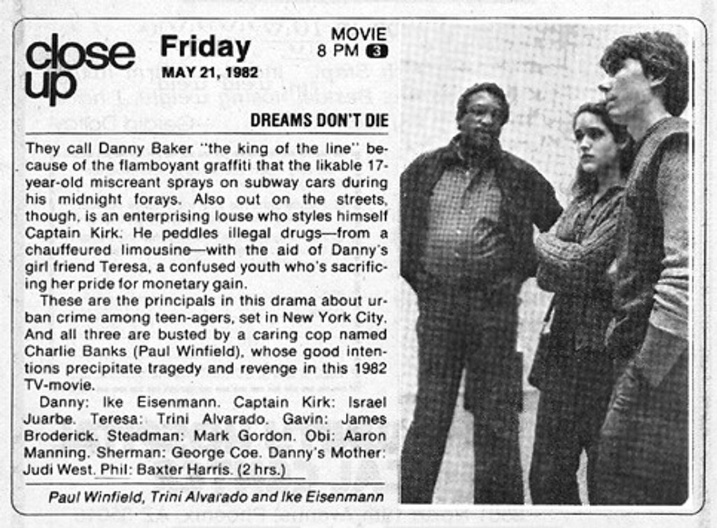 TV guide article on Dreams don't die movie
