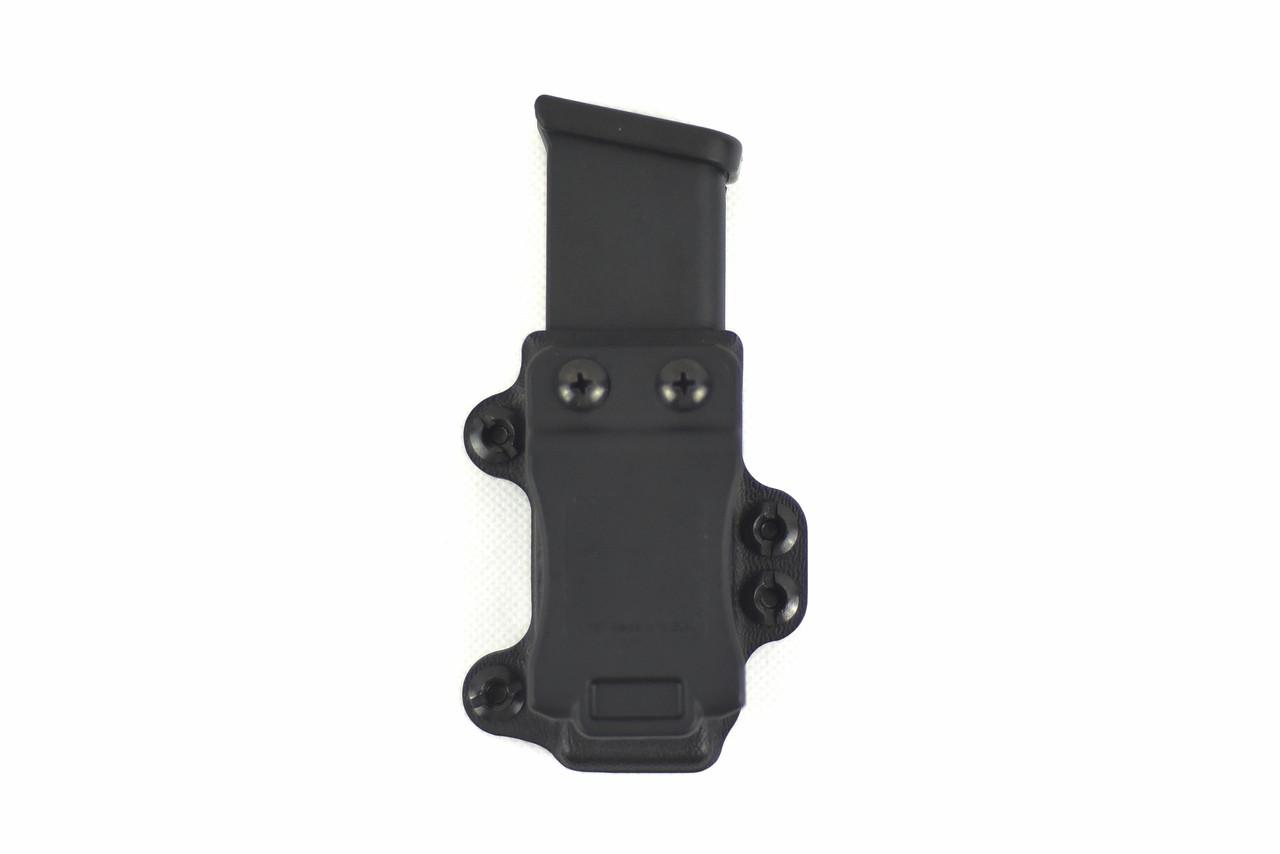 Multiple attachment methods makes the M.C.S. Pistol Magazine carry extremely versatile.