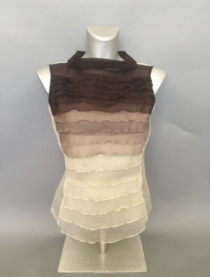 Silk Organza Sleeveless Blouse with Ruffles (Available in 3 Colors)
