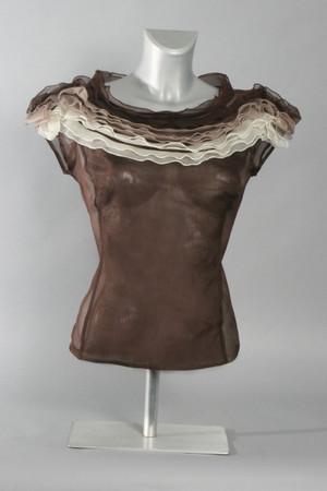 Silk Organza Cap Sleeve Blouse with Ruffles