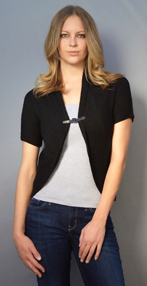 Short Sleeve Cardigan with Buckle Enclosure