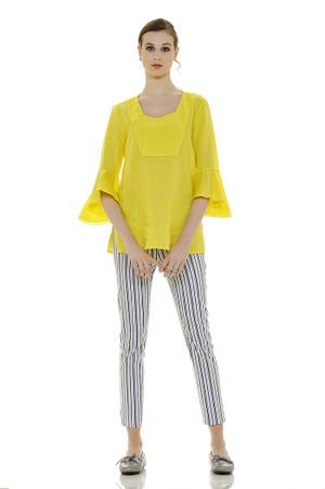 Yellow Long Flared Linen Tunic