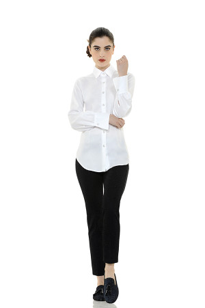 Classic Style Cotton Blouse with Swarovski Buttons
