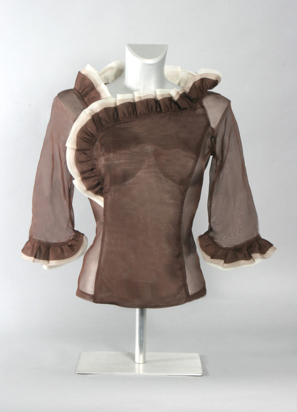 Silk Organza Blouse with Ruffled Collar and Cuff (Available in 2 Colors)