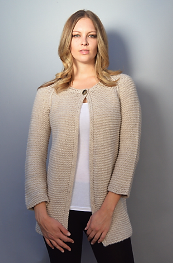 Heavy Weight Cardigan with Single Top Button in Ivory