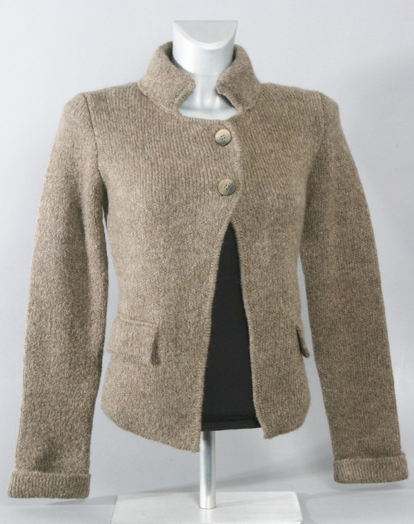Cardigan with Stand Up Collar in Light Brown