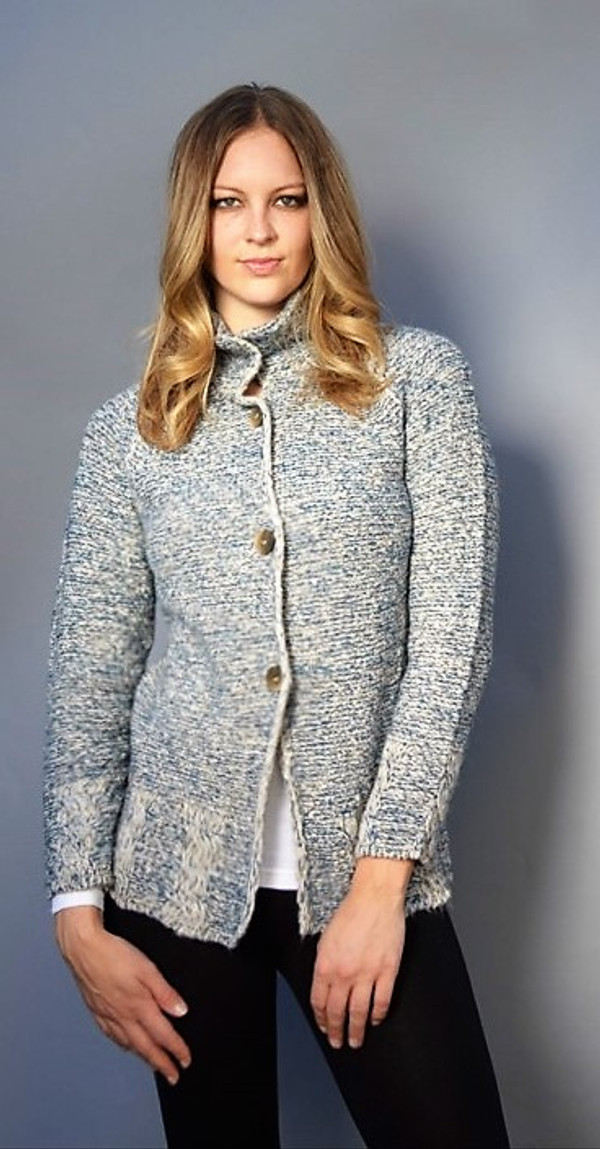 Button Down Sweater with Stand Up Collar in Blue and Ivory