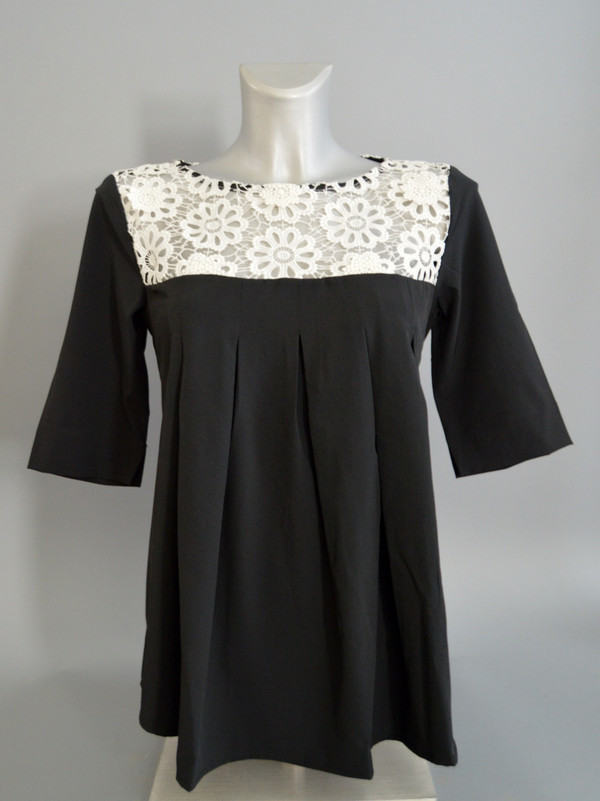 A-Line Pullover Blouse with Pleats and Floral Lace Detailing