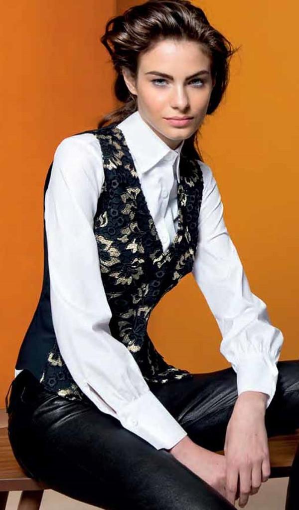 Floral Lace Vest with Gold Plastron