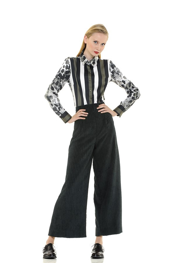 Striped Print Blouse with Graphic Motif