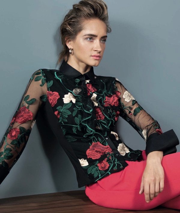 Embroidered Rose Motif Blouse