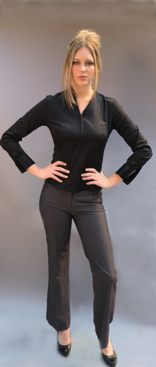 Zipper Blouse with Stand Up Collar (Available in 3 Colors)