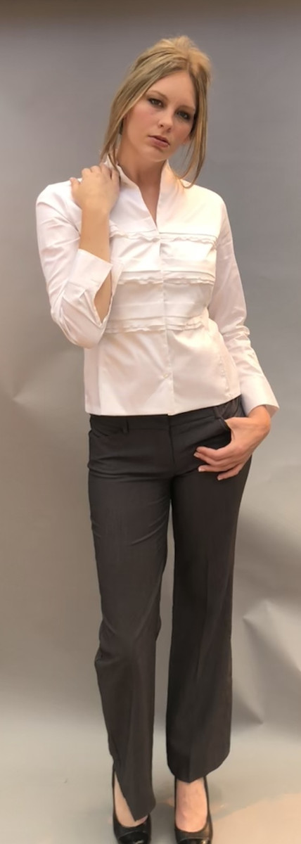 Horizontal Ruffled Pleats Blouse with Stand Up Collar (Available in 3 Colors)