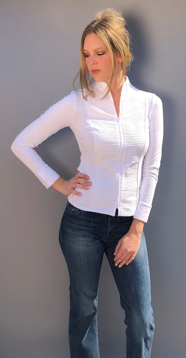 Stretchy Blouse with Stand Up Collar and Horizontal Pleats