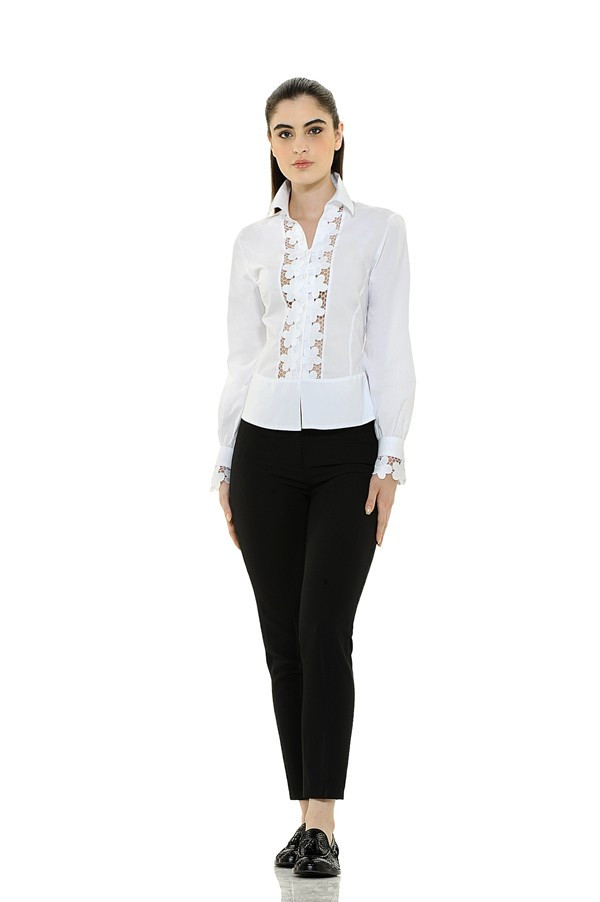 Lace Plastron and Cuffs Blouse