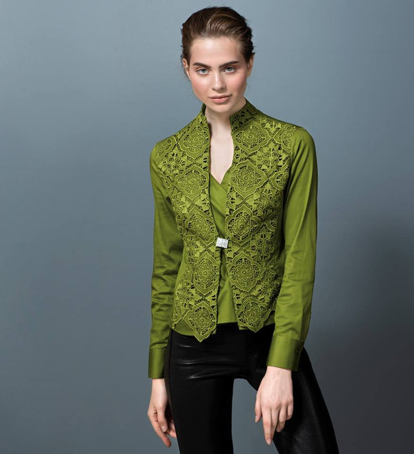 Lace Plastron Blouse with Swarovski Buttons