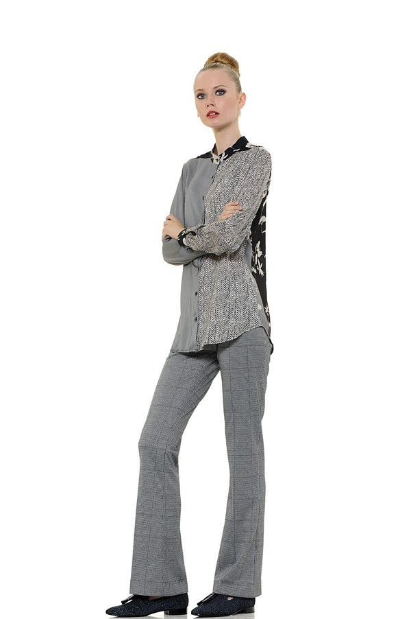 Light Viscose Blouse with Band Collar