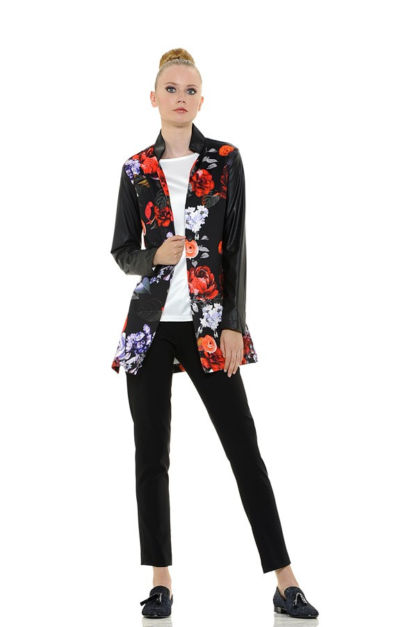 Long Floral Print Jersey Knit Blouse with Faux Leather Sleeves