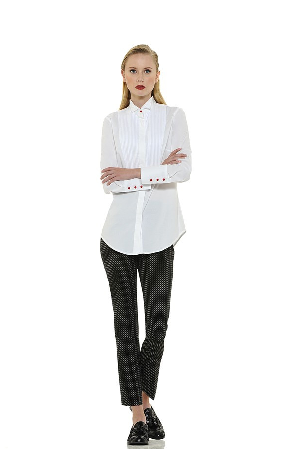 Classic Style Blouse with Pleated Bodice and Red Accent Buttons