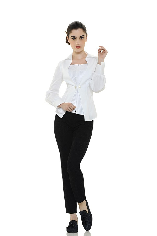 Pleated Blouse with Pin Buckle
