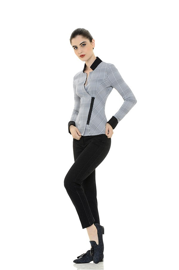 Checkered Stretchy Blouse with Side Zipper