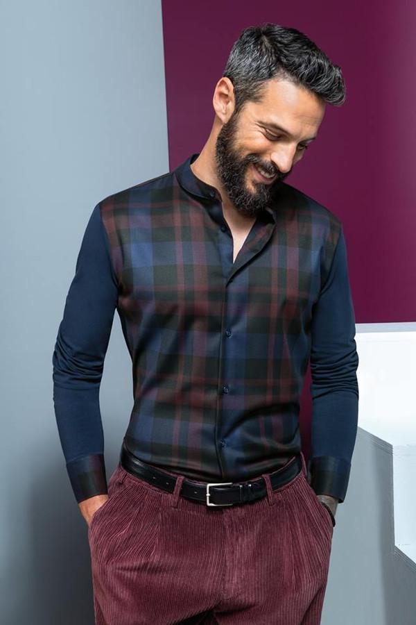 Cotton Shirt with Plaid Plastron and Narrow Band Collar