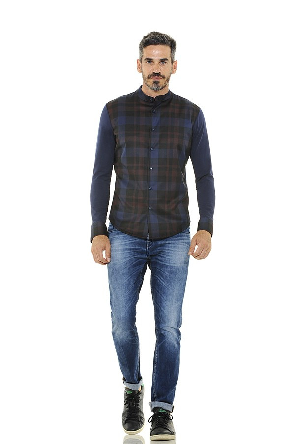 Cotton Shirt with Plaid Plastron and Narrow Band Collar