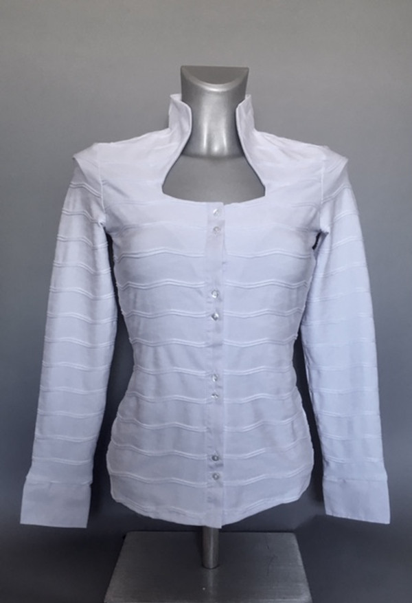 Knit Stretchy Blouse with Horizontal Pleats (Available in 2 Colors)