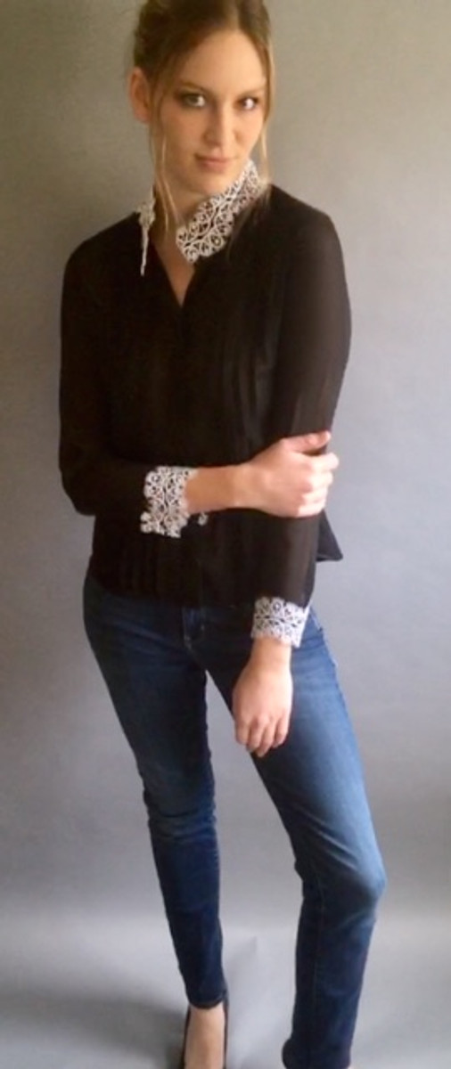 Lacey Sheer Blouse with Stand Up Collar (Available in 2 Colors)