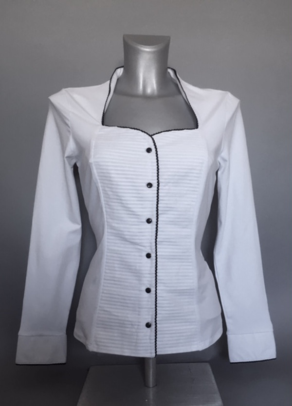 Stretchy White Blouse with Horizontal Pleat