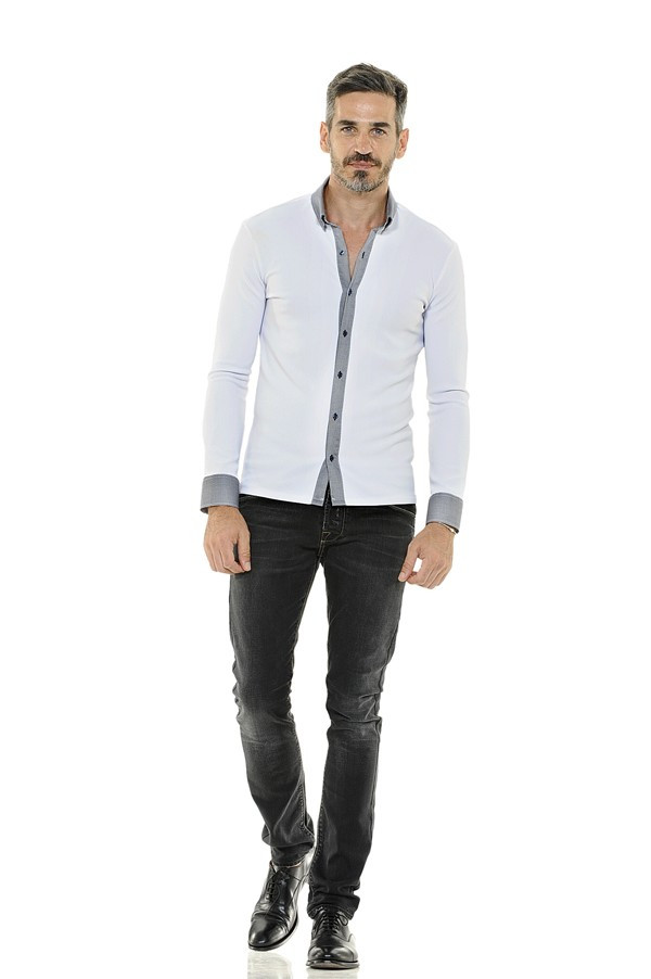 Cotton and Elastane Shirt with Contrasting Collar and Cuffs (Available in 2 Colors)