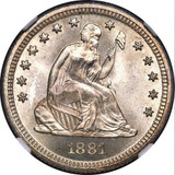 NGC 1881 MS-68 Sitting Liberty Quarter