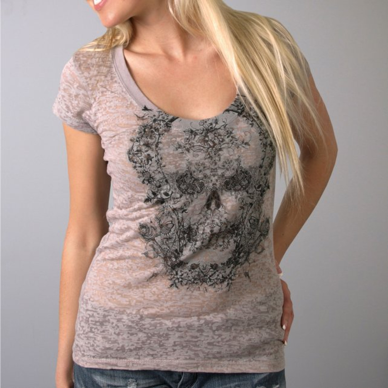 d21bbe32a23 Ladies Victorian Skull Scoopneck Burnout Tee - Rider 2 Rider Store