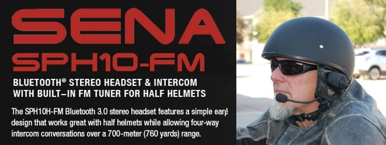 0479c852aa5 Sena SPH10H-FM Bluetooth Intercom With FM Tuner For Half Helmets ...